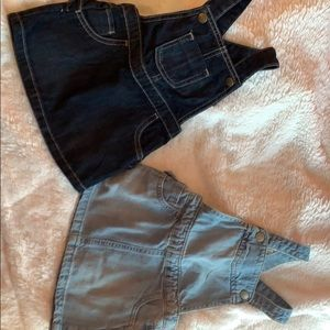 2 pairs of baby girl overall skirts